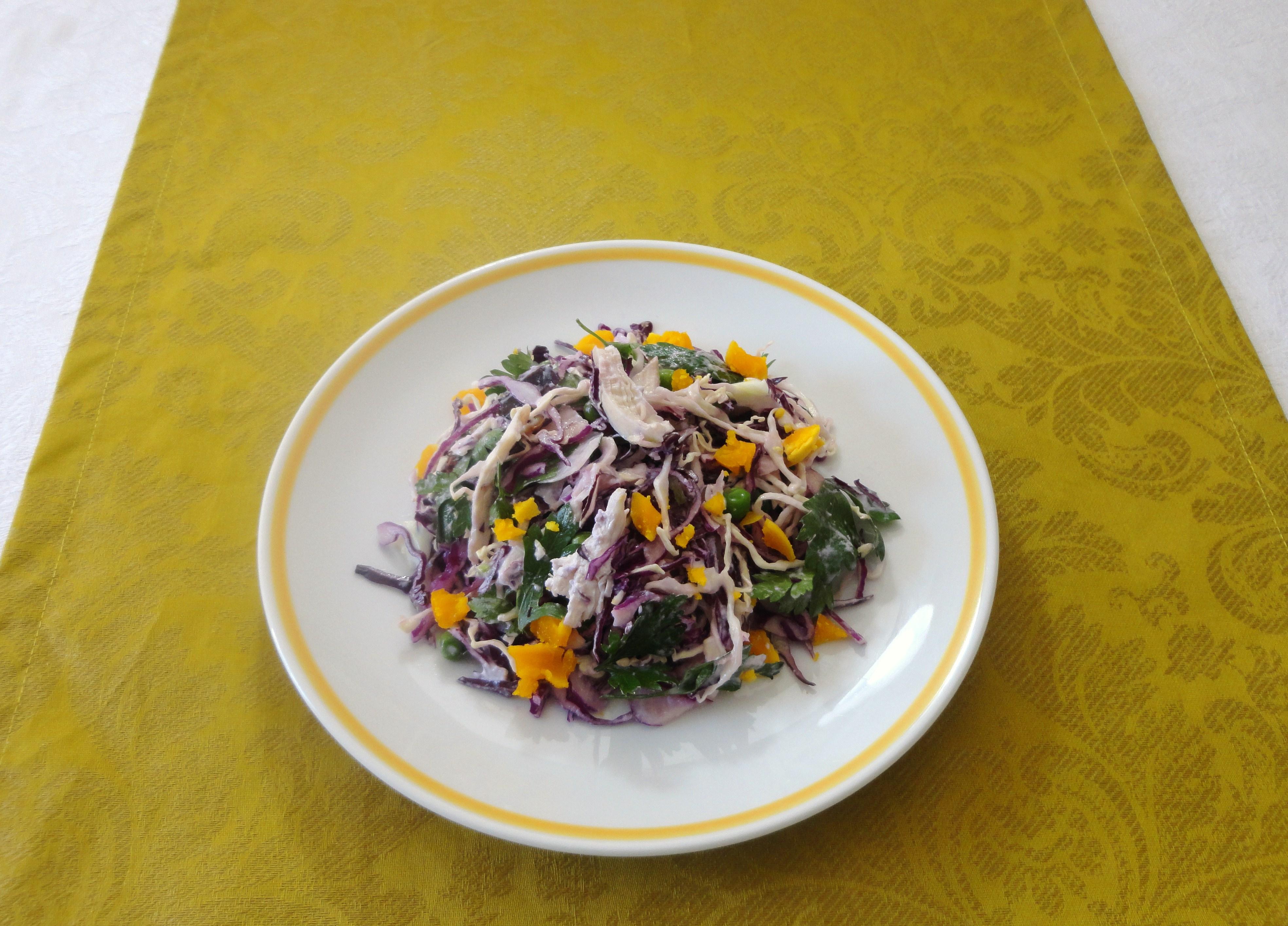 Salada de Couve-roxa e Frango
