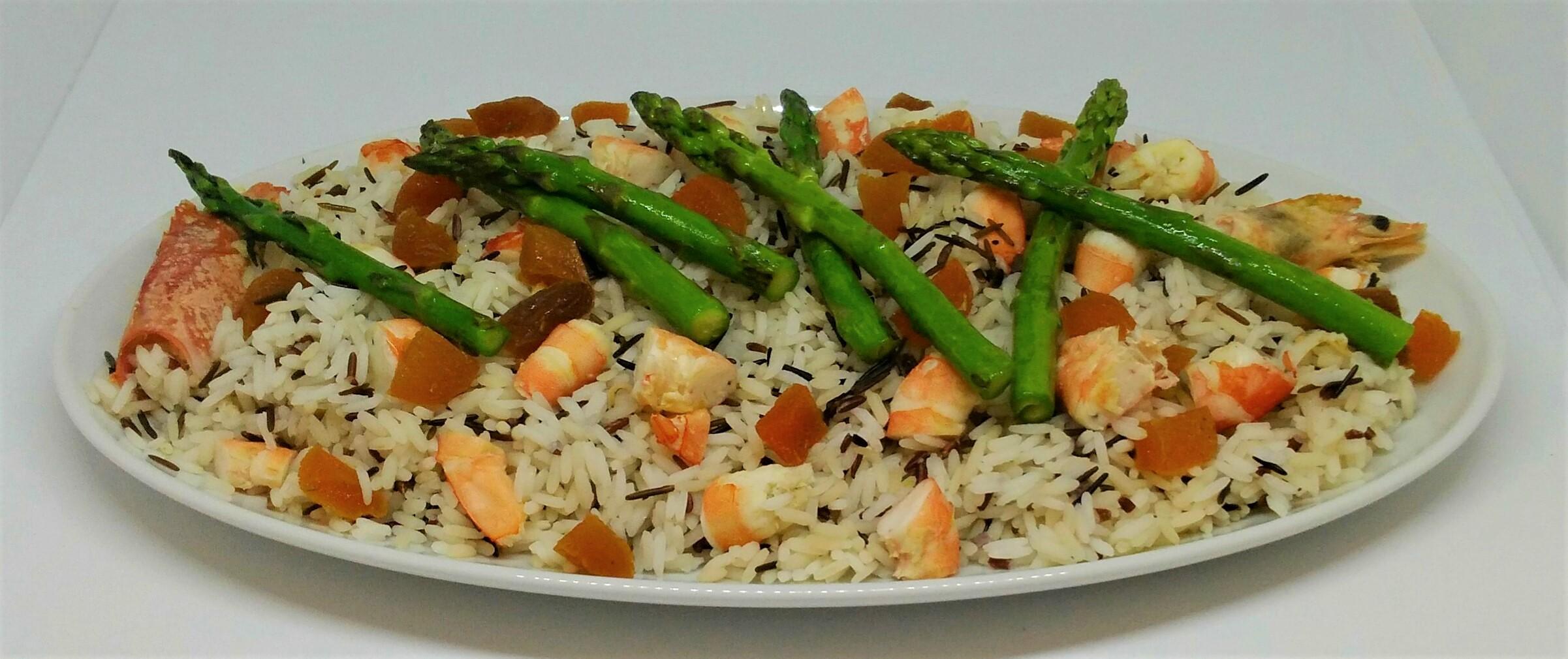 Salada de Arroz Selvagem e Camarão